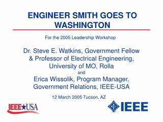 ENGINEER SMITH GOES TO WASHINGTON