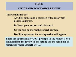 Florida CIVICS AND ECONOMICS REVIEW