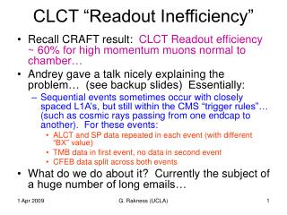 "CLCT ""Readout Inefficiency"""