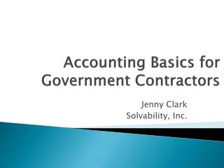 Accounting Basics for Government Contractors