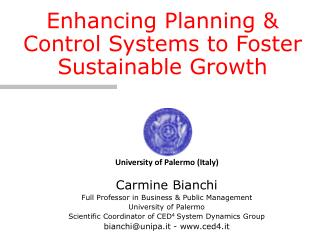 Carmine Bianchi Full Professor in Business & Public Management  University of Palermo