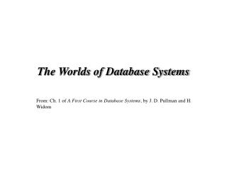 The Worlds of Database Systems