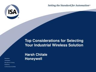Top Considerations for Selecting Your Industrial Wireless Solution Harsh Chitale Honeywell