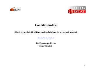 ConIstat-on-line Short term statistical time-series data base in web environment