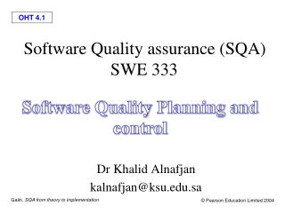 Software Quality assurance (SQA)  SWE 333
