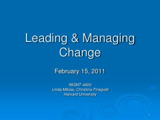 Leading & Managing Change