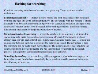 Hashing for searching