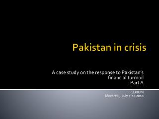 Pakistan in  crisis