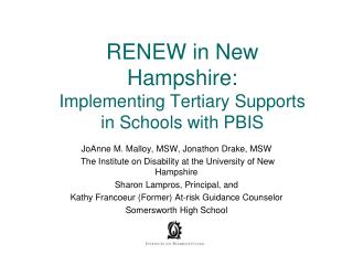 RENEW in New Hampshire: Implementing Tertiary Supports in Schools with PBIS