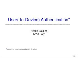 User-to-Device Authentication
