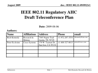IEEE 802.11 Regulatory AHC Draft Teleconference Plan