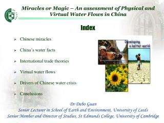 Miracles or Magic – An assessment of Physical and Virtual Water Flows in China