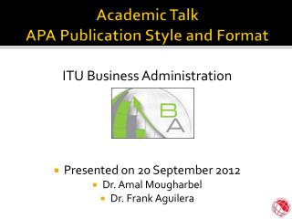 Academic Talk APA Publication Style and Format