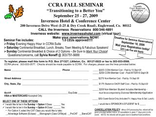 "CCRA FALL SEMINAR ""Transitioning to a Better You"" September 25 - 27, 2009"