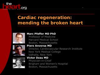 Cardiac regeneration: mending the broken heart