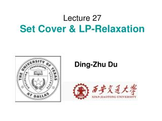 Lecture 27 Set Cover & LP-Relaxation