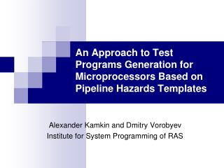 An Approach to Test Programs Generation for Microprocessors Based on Pipeline Hazards Templates