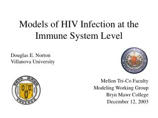 Models of HIV Infection at the Immune System Level
