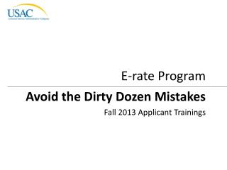 Avoid the Dirty Dozen Mistakes