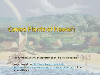 Canoe Plants of Hawai'i