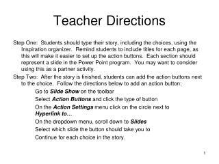 Teacher Directions
