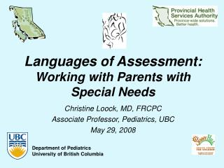 Languages of Assessment: Working with Parents with Special Needs