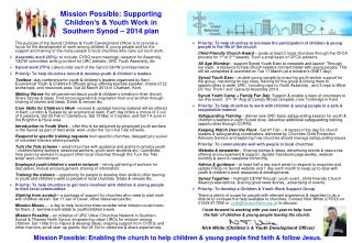Mission Possible: Supporting Children's & Youth Work in  Southern Synod – 2014 plan