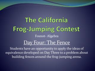 The California  Frog-Jumping Contest