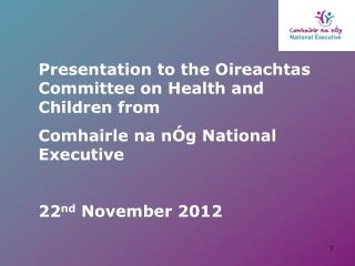 Presentation to the Oireachtas Committee on Health and Children from