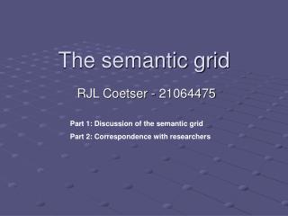 The semantic grid