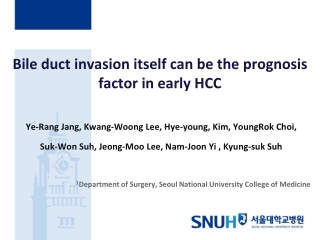 Bile duct invasion itself can be the prognosis factor in early HCC