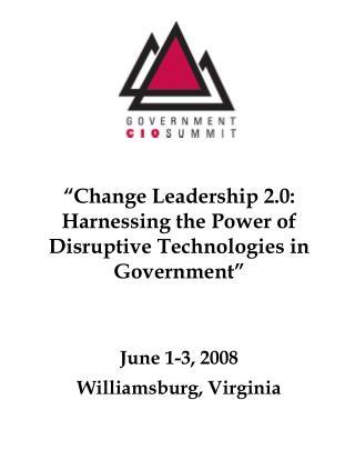 June 1-3, 2008 Williamsburg, Virginia