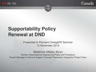 Supportability Policy  Renewal at DND