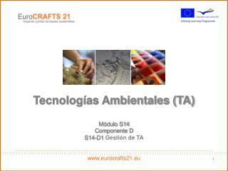 Tecnologías Ambientales (TA) Módulo S14 Componente D S14-D1 Gestión de TA eurocrafts21.eu