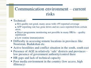 Communication environment – current risks