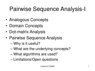 Pairwise Sequence Analysis-I