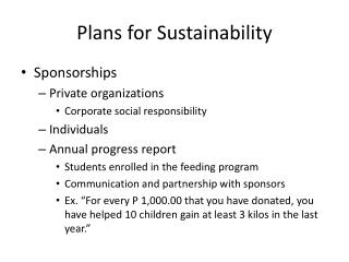 Plans for Sustainability