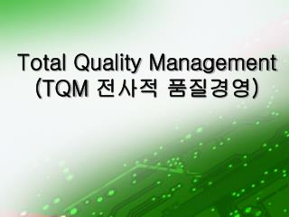 Total Quality Management (TQM  전사적 품질경영 )