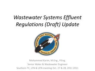 Wastewater Systems Effluent Regulations (Draft) Update