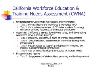 California Workforce Education & Training Needs Assessment (CWNA)