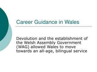 Career Guidance in Wales
