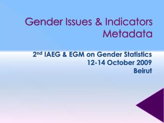 Gender Issues & Indicators Metadata