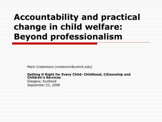 Accountability and practical change in child welfare: Beyond professionalism