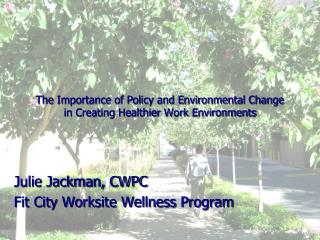 The Importance of Policy and Environmental Change  in Creating Healthier Work Environments