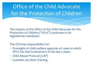 Office of the Child Advocate for the Protection of Children