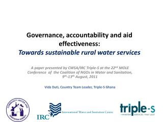 Governance, accountability and aid effectiveness: Towards sustainable rural water services