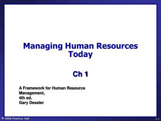 Managing Human Resources Today
