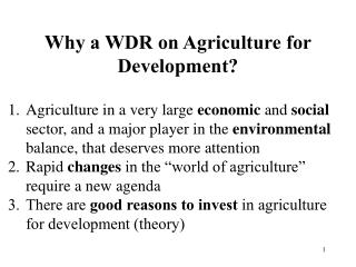Why a WDR on Agriculture for Development?