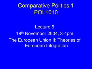 Comparative Politics 1 POL1010