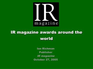 IR magazine awards around the world